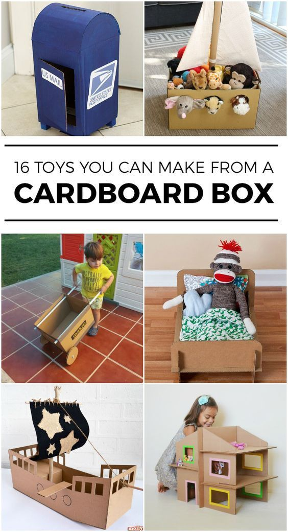 16 Toys You Can Make With An Empty Box Cardboard Crafts Cardboard Box Crafts Diy Toys