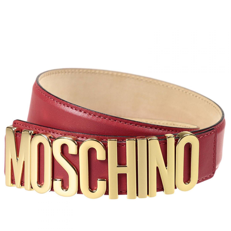 c55e6e9e7c Moschino - Black Belt Lettering Calf Leather - Lyst Red Belt, Black Belt,  Moschino