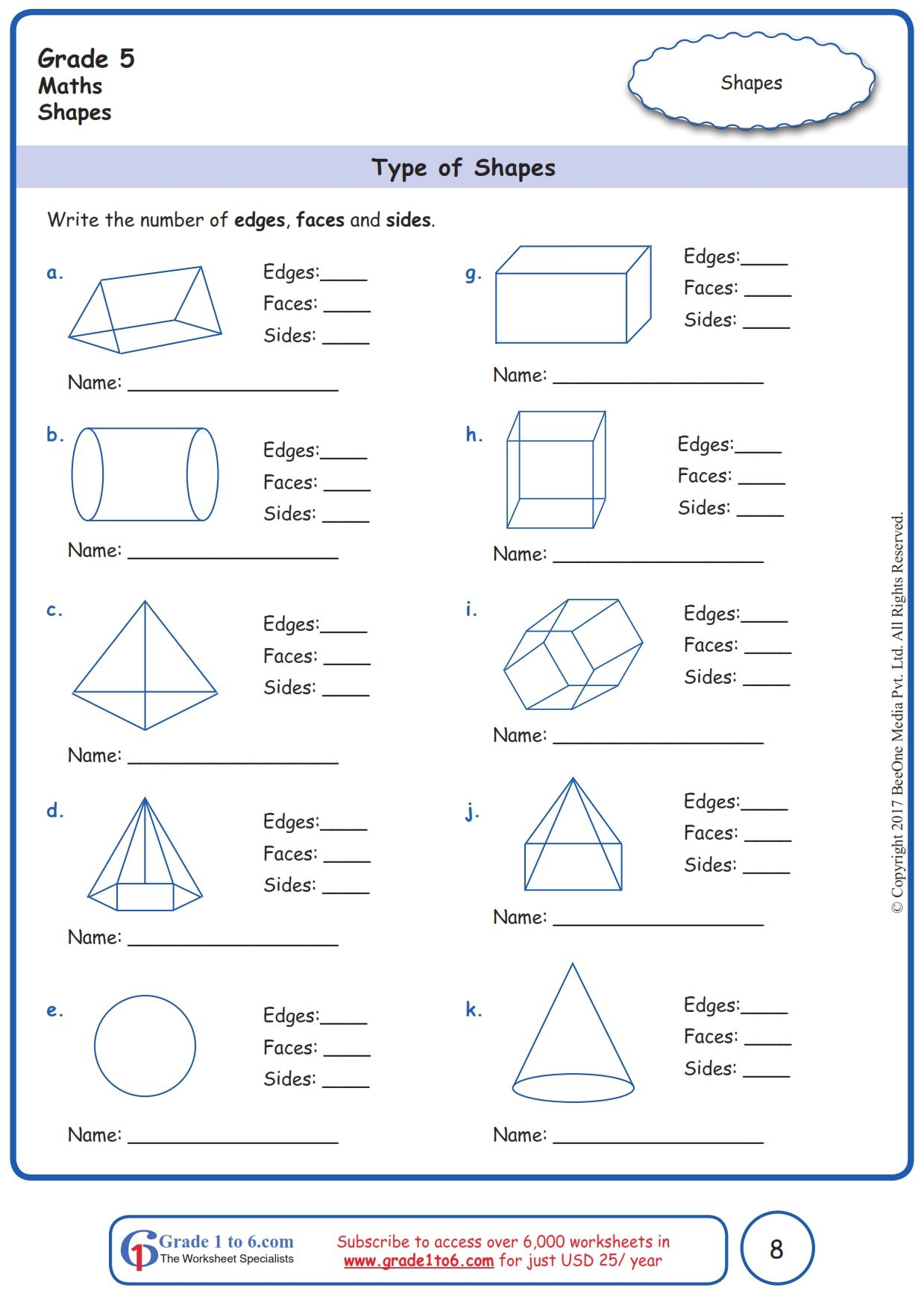 Worksheet Grade 5 Math Type Of Shapes In