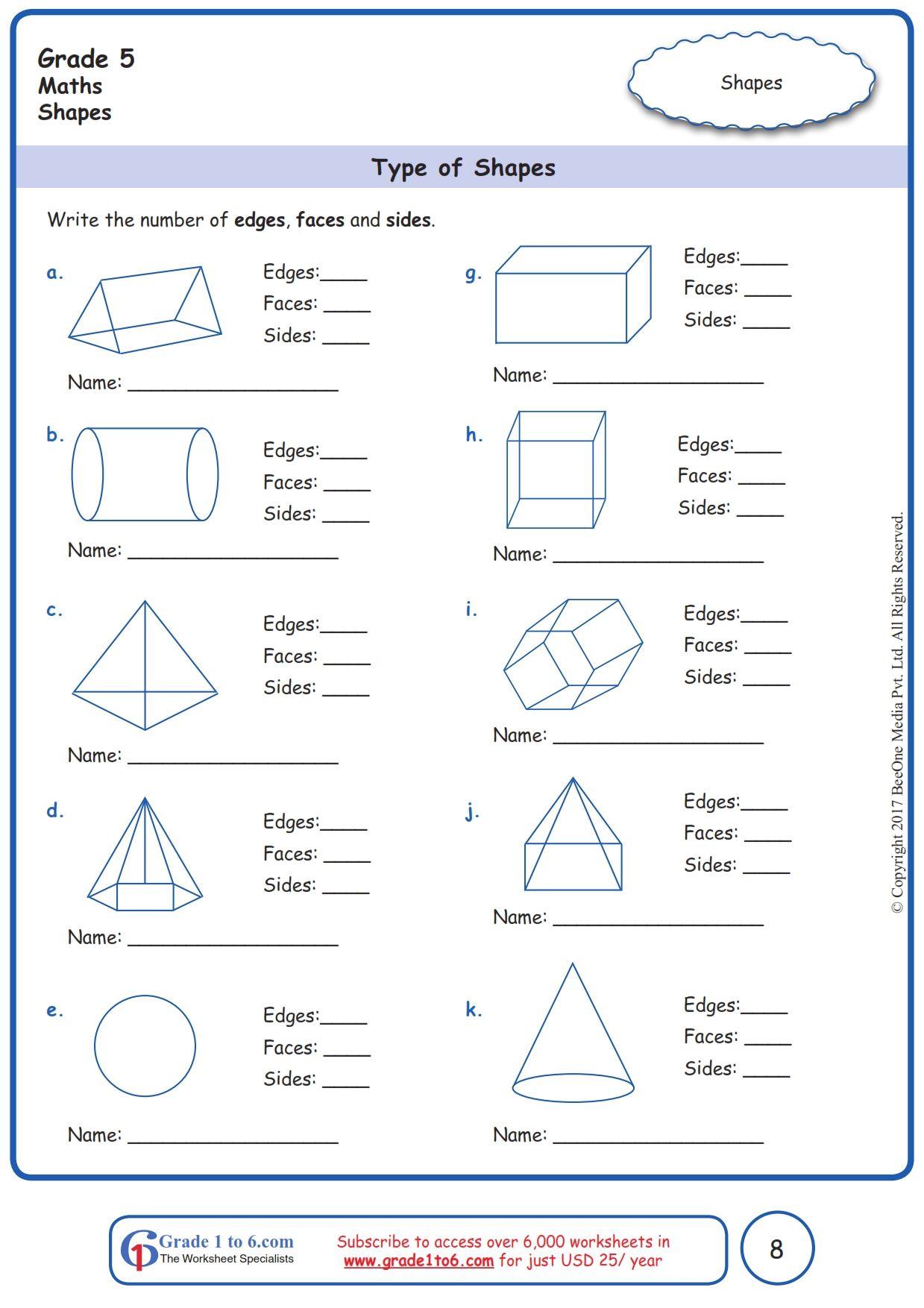 Worksheet Grade 5 Math Type of Shapes in 2020 Grade 5