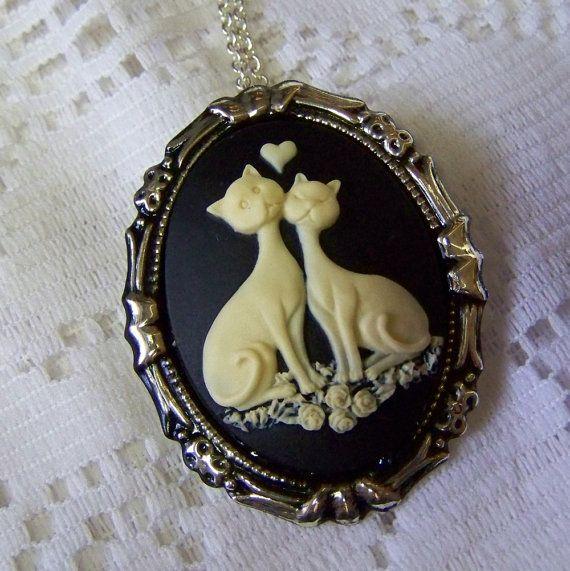 LOVE CATS Pendant Brooch  Cat Pin  Cat by SouthernBelleOOAK, $14.99