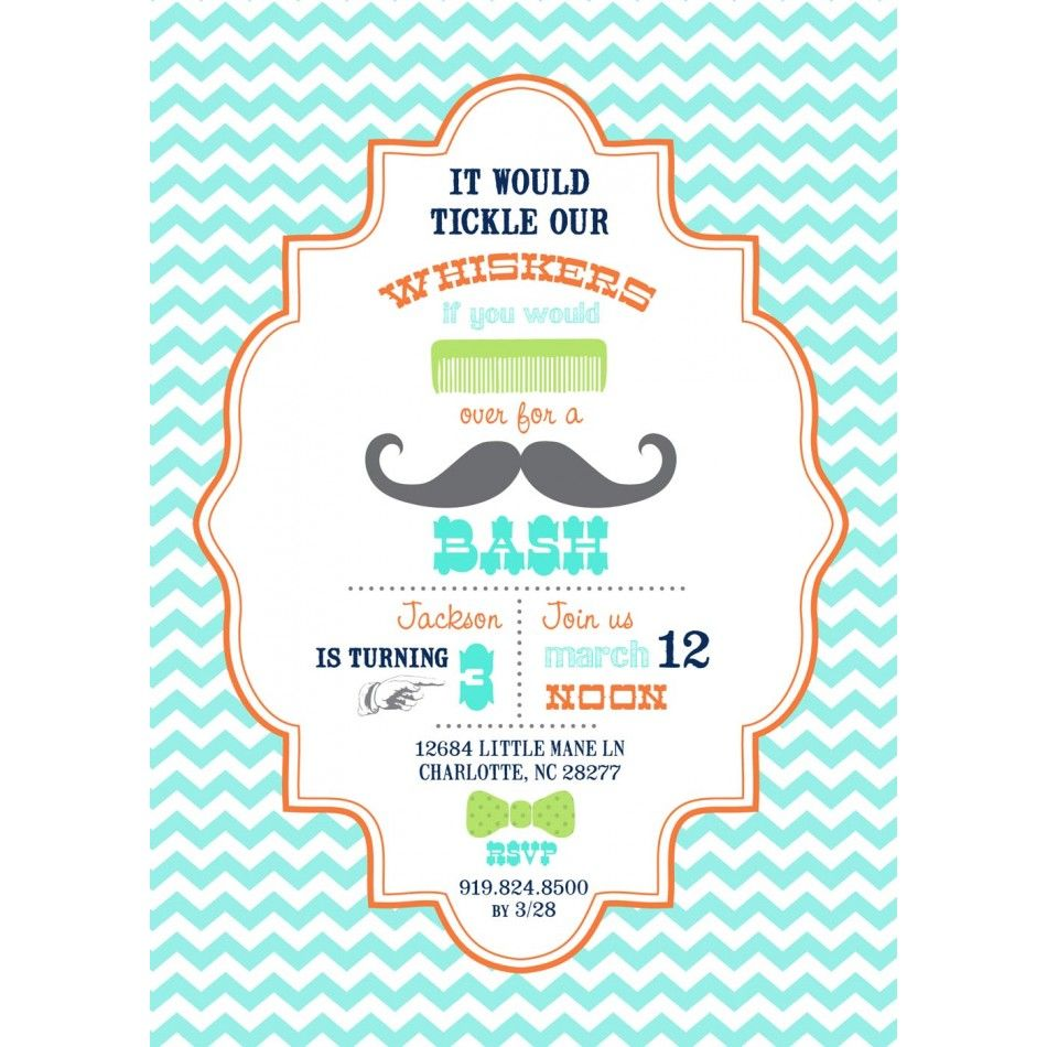 Little Man Mustache Bash Birthday Party Printable Invitation ...