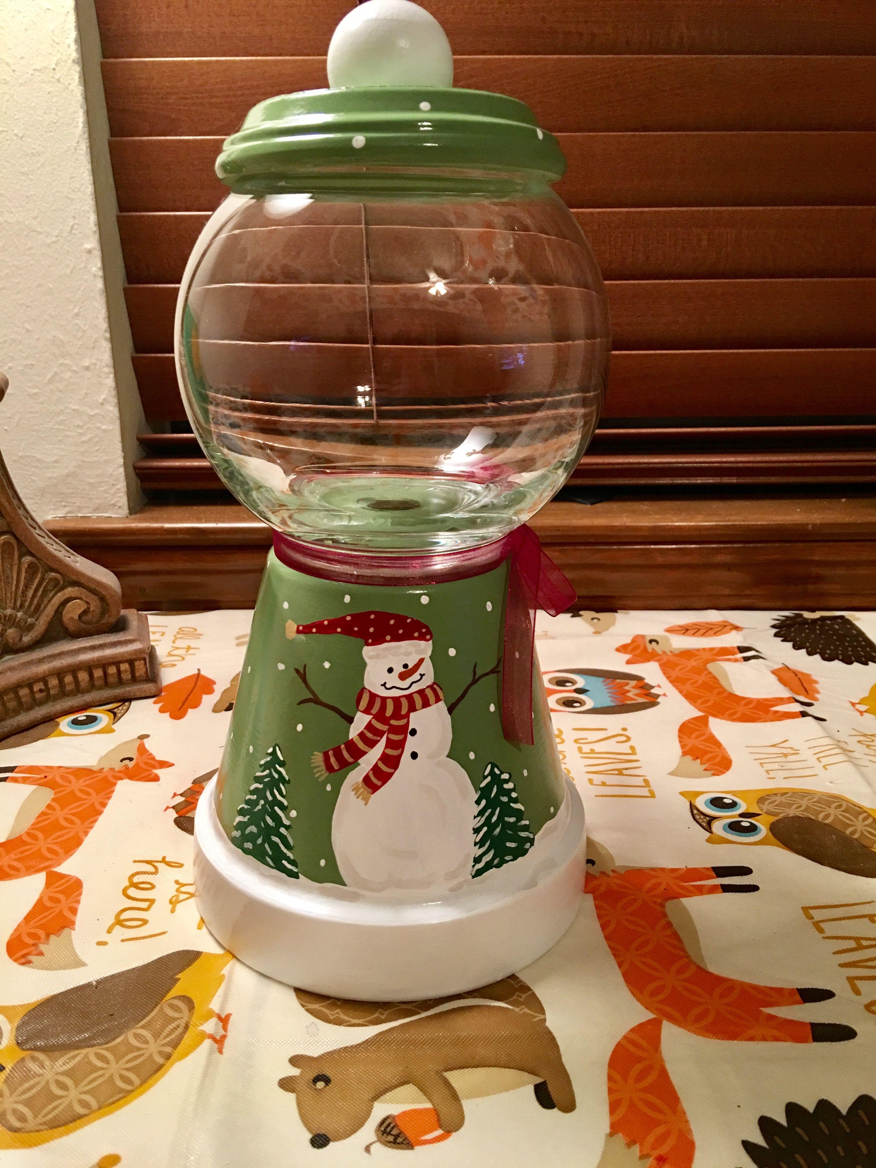 Snowman Terra Cotta Pot Christmas Candy Jar Christmas Candy Jars Candy Jars Diy Terra Cotta Pot Crafts