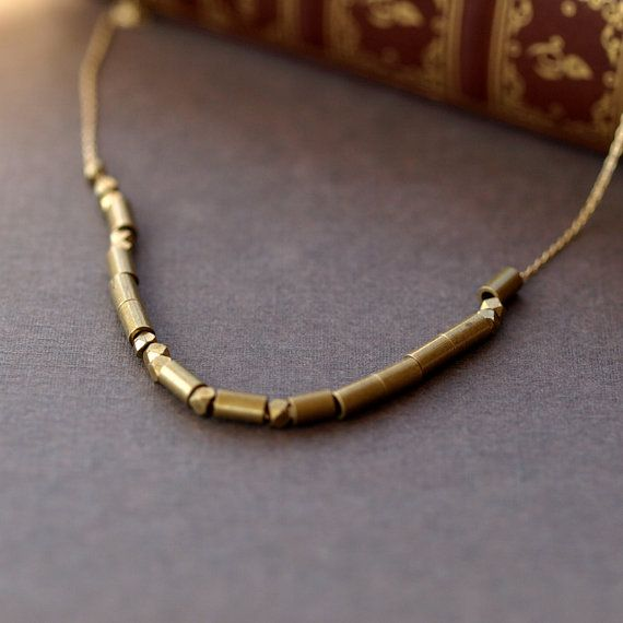 Signal Love Morse Code Necklace I Love You Gold Brass Handmade Jewelry