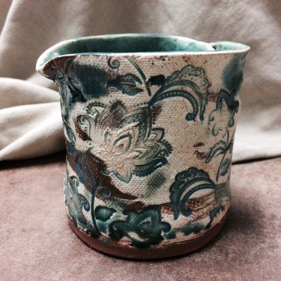 Turquoise Ceramic Plant Pot Herb Ceramic Planter Handmade Artisan Pottery Hand Stamped Turquoise Glazed Red White Earthenware Creamer Ceramic Plant Pots Ceramic Flower Pots Herb Pots