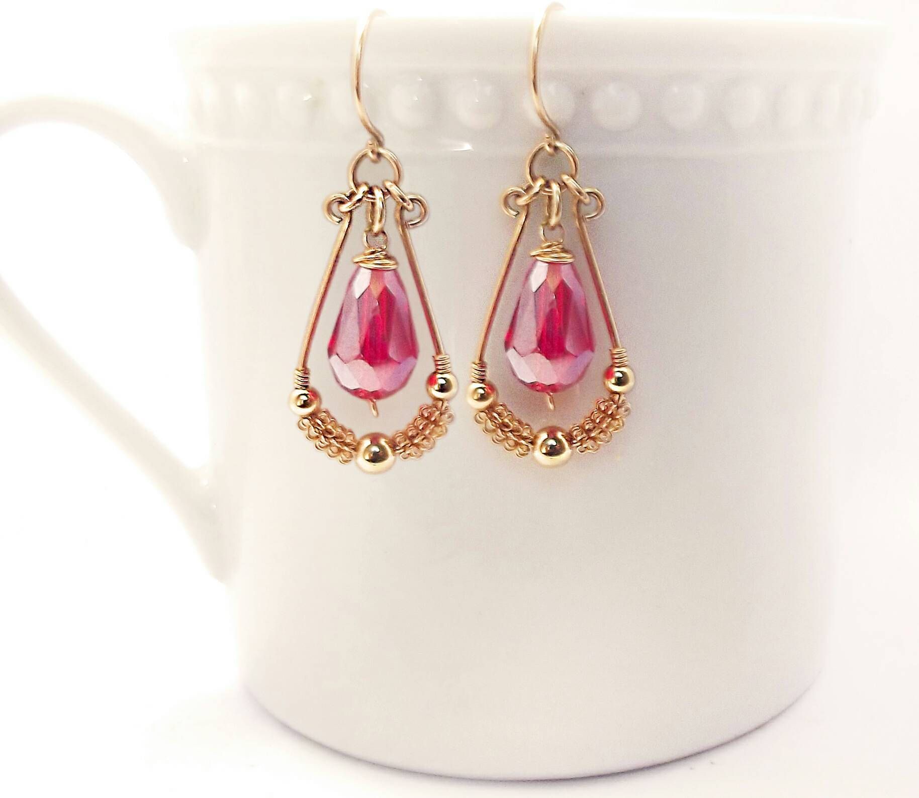 gold raspberry in pink earrings valltasy dangle design the filled red ruby
