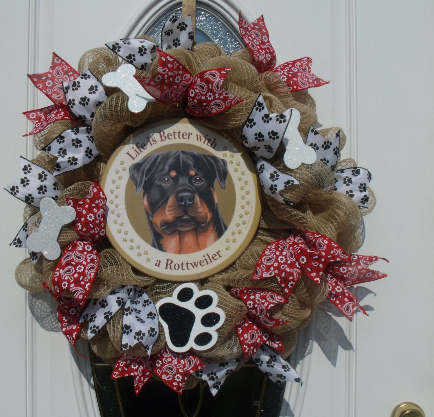 Rottweiler Dog Mesh Wreath Life is Better Door Decor Pet Wreath Dog Wreath by MeshWreathsnMore on Etsy