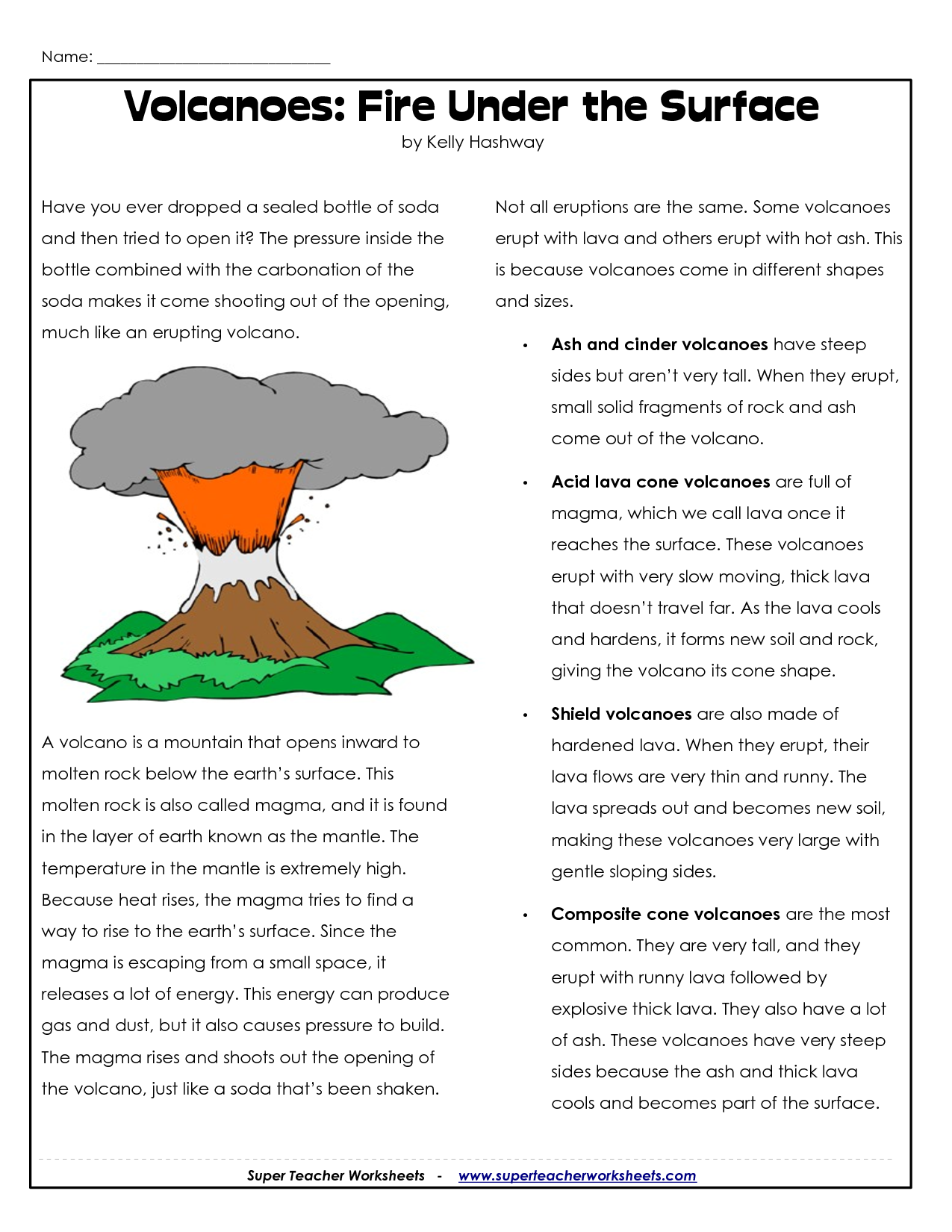Volcano Volcano Layers Worksheet