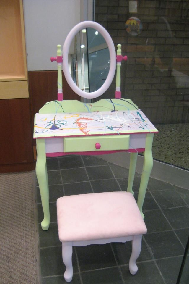 custom hand painted little girl 39 s vanity set furniture pinterest. Black Bedroom Furniture Sets. Home Design Ideas