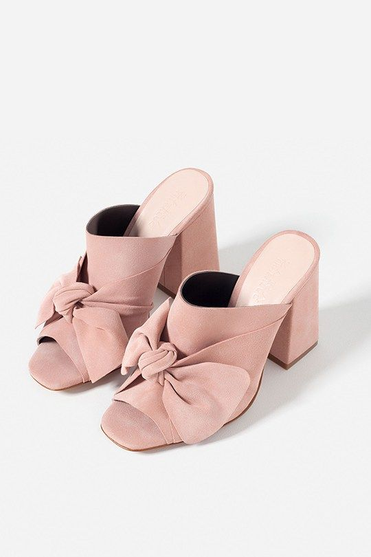9dbf1aba36 zara-pink-suede-bow-mules | Centipede | Shoes, Zara shoes, Shoes heels