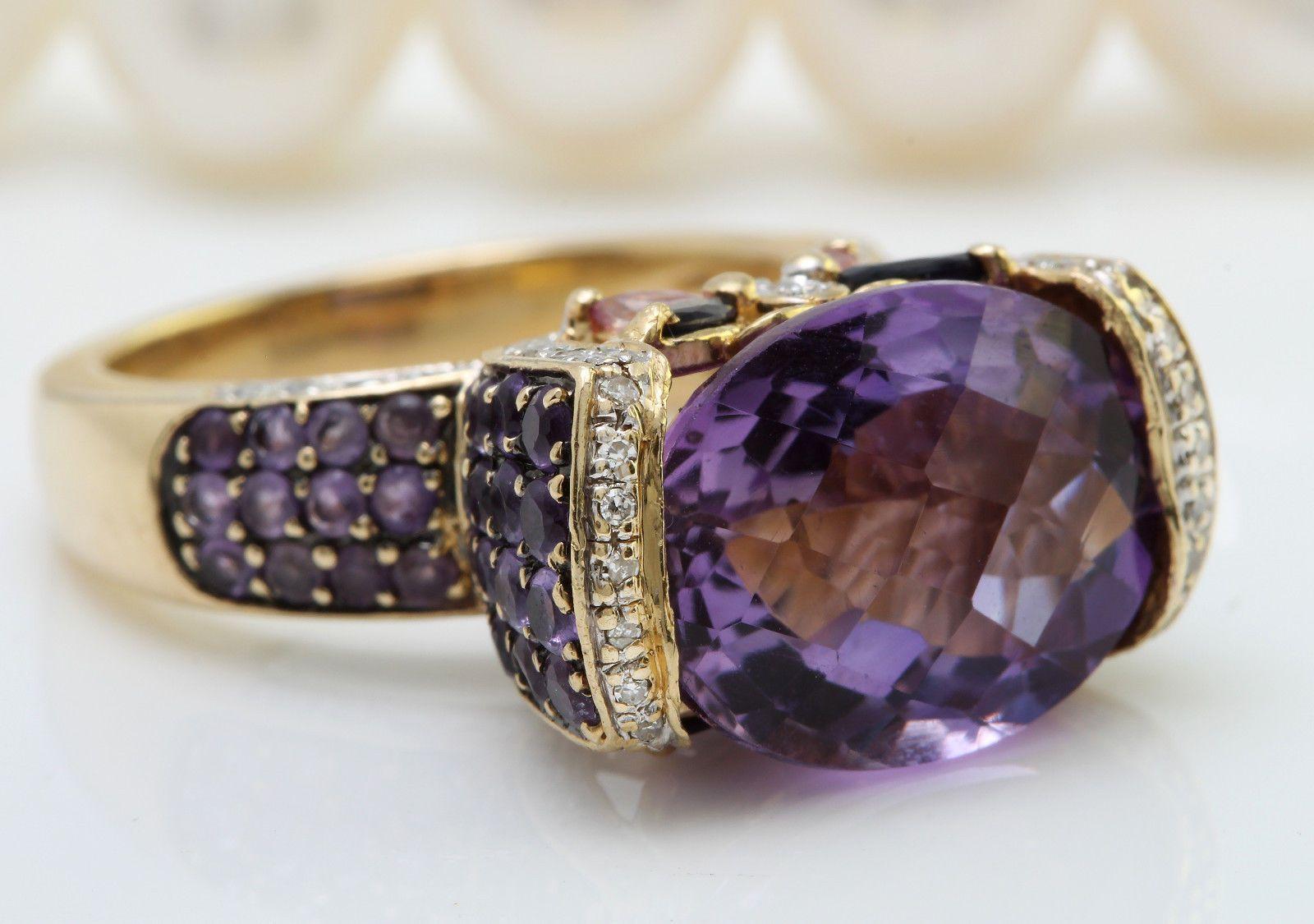 8.60CTW Natural Purple Amethyst and Diamonds 14K Yellow Gold Women Ring https://t.co/gaXHOTfhmk https://t.co/x7o29ecjzo