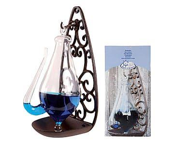 Barometro antico in vetro e ghisa ruggine - 14x13x28 cm