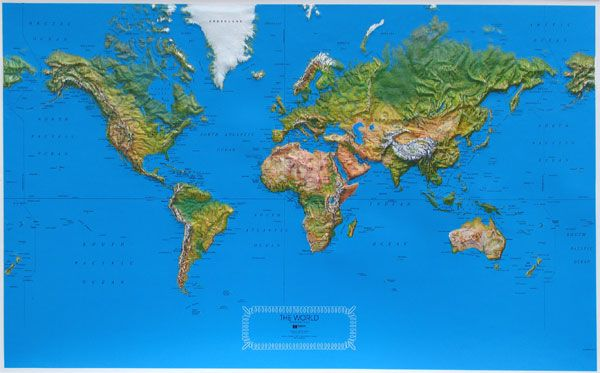 Raised Relief World Map.Raised Relief World Map Ncr Natural Color Relief Decorating