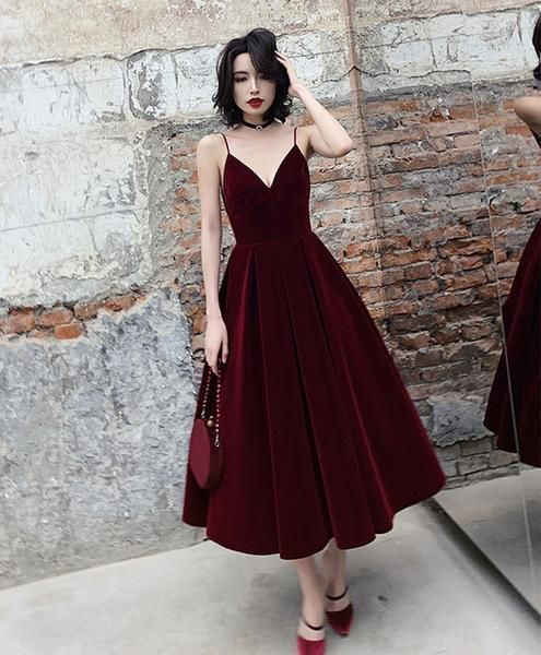 Simple burgundy tea Length prom dress burgundy bridesmaid dressbridesmaid
