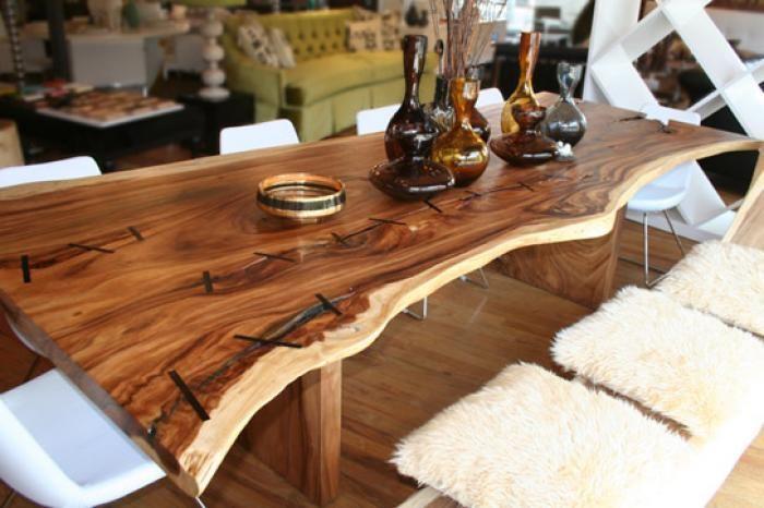 Acacia Wood 9 Slab Table With Inlaid Ebony Seams Love This