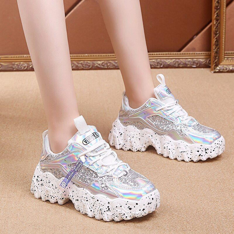 Details about  /Ladies Trainers Shoes Womens Shimmer Slip On Flat Star Pumps Sneakers Size