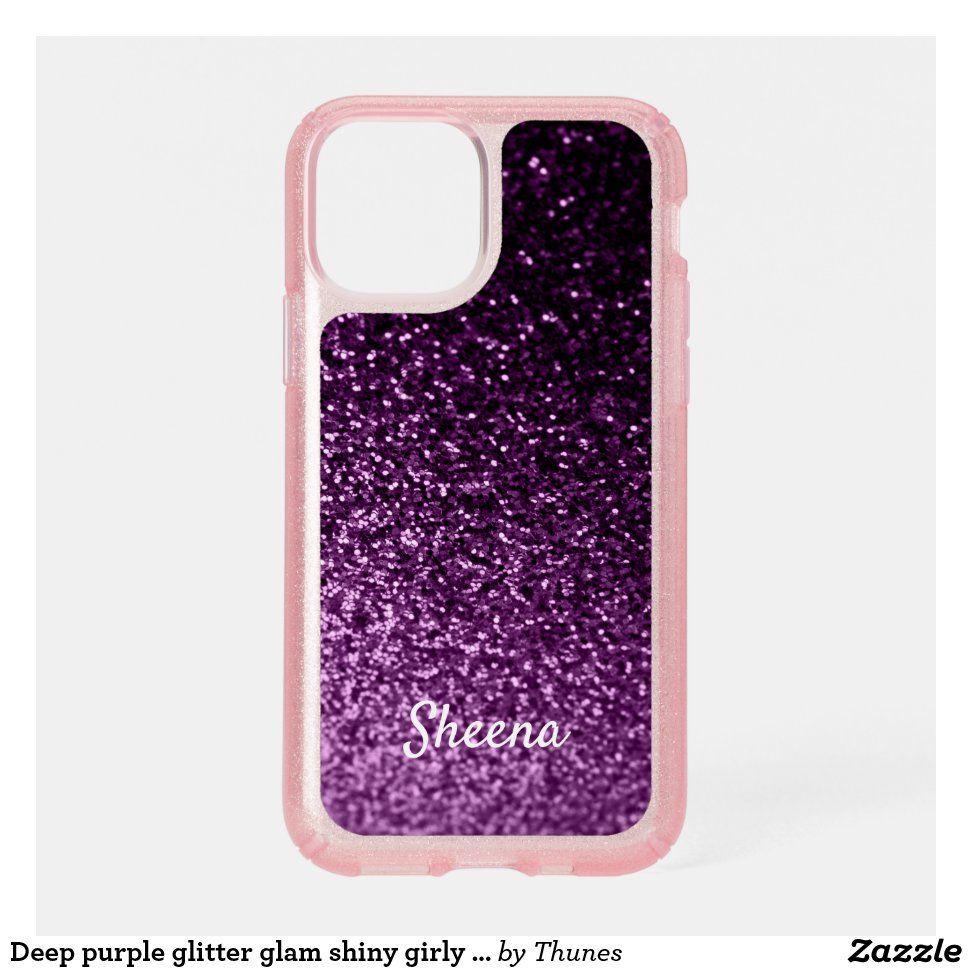 Purple glitter girly glam shiny name speck iPhone case | Zazzle.com