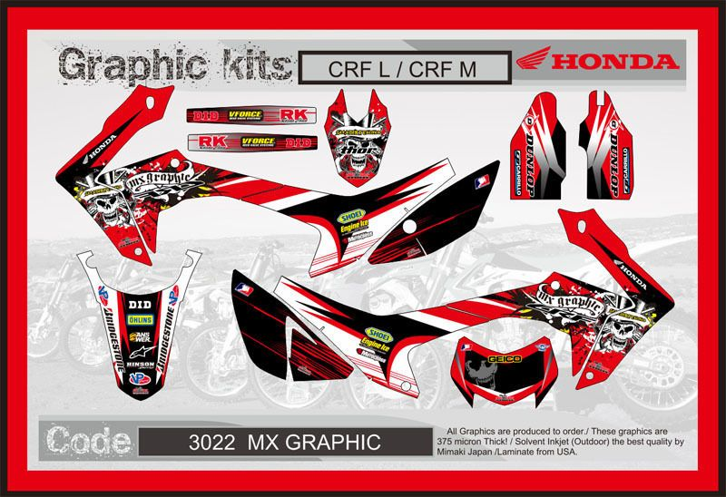 Honda Crf250l Crf250m Decals Sticker Graphics Mx Graphic Kit Decals Stickers Honda