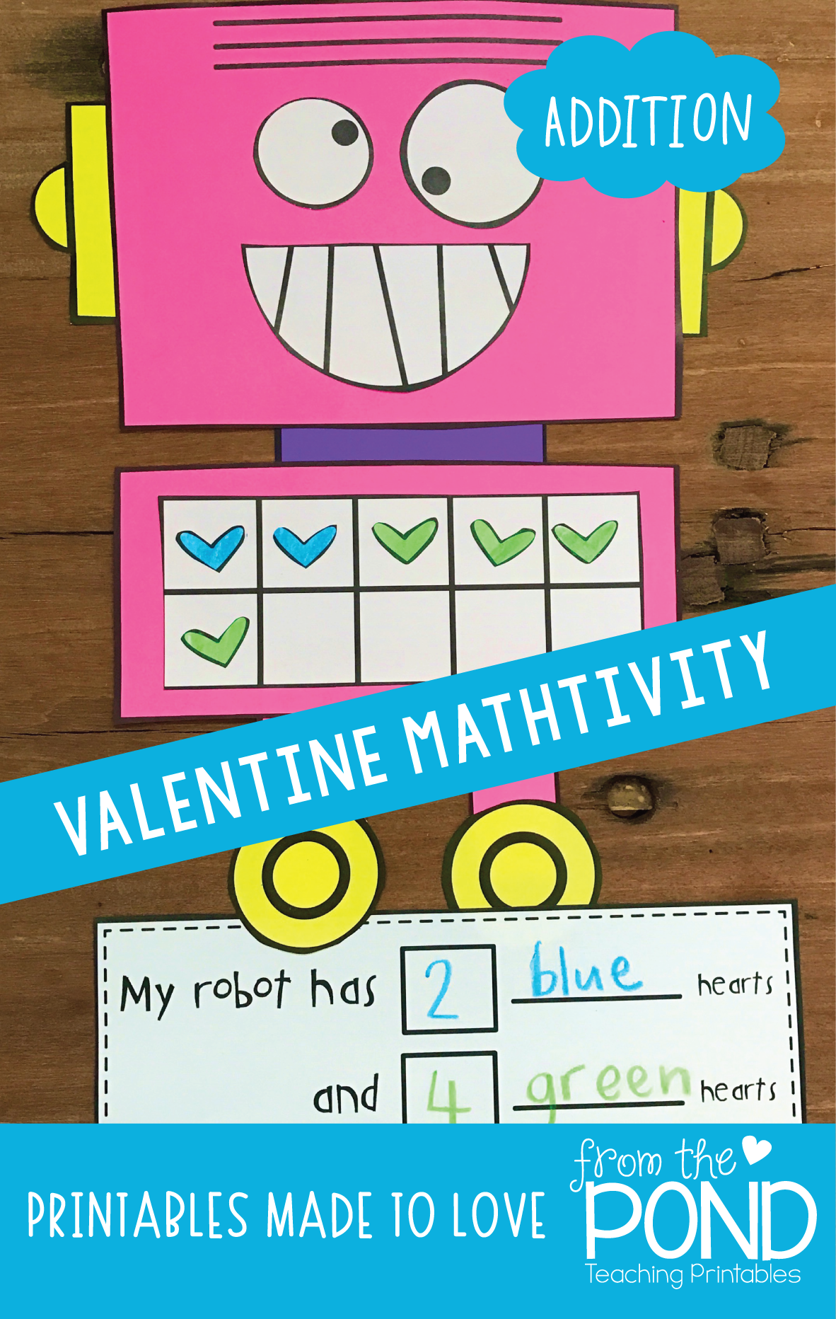 A fun addition math craft perfect for Valentine\'s Day in the first ...