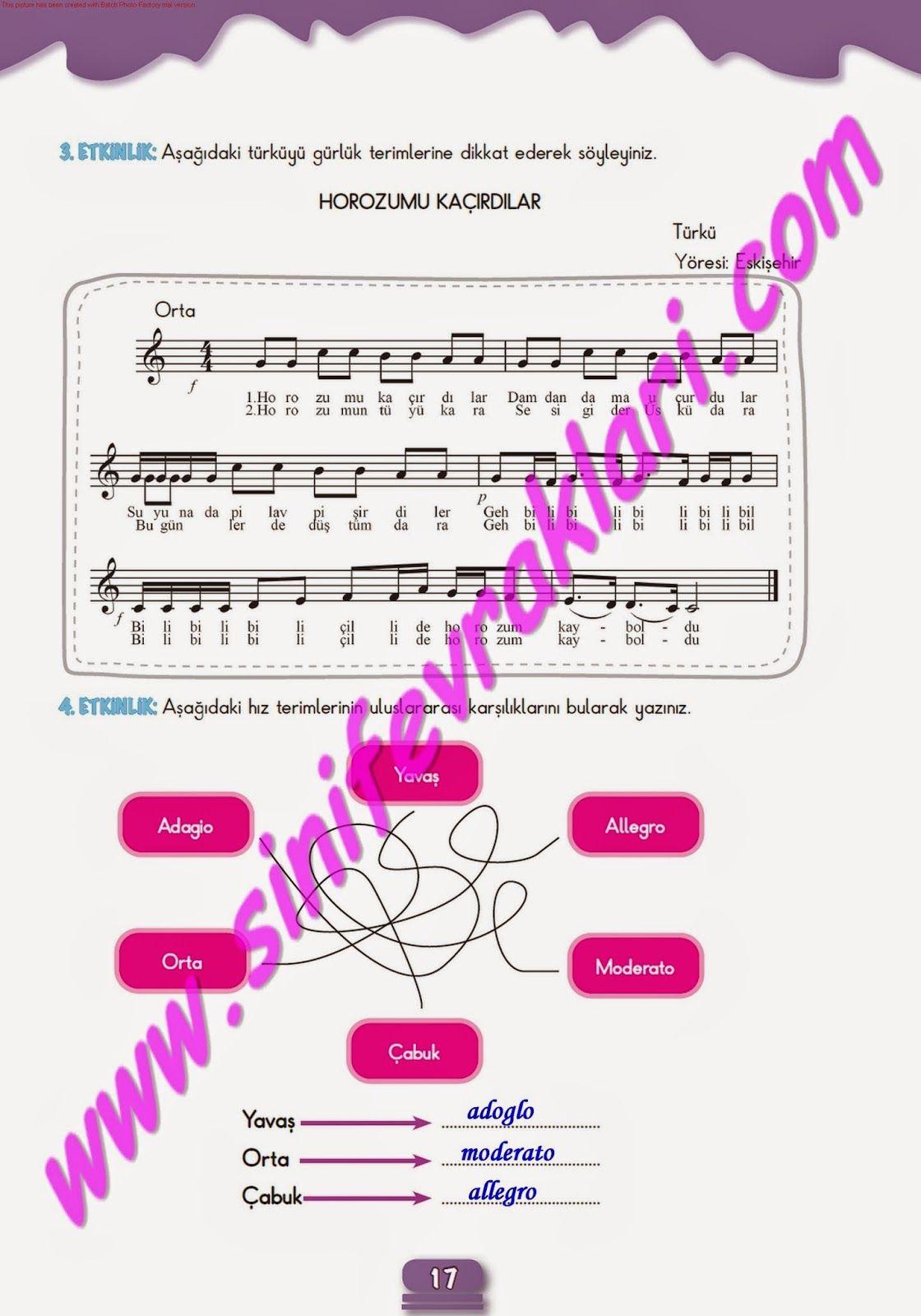 7sınıf Müzik çalışma Kitabı Cevapları Meb Yayınları Sayfa 17 7