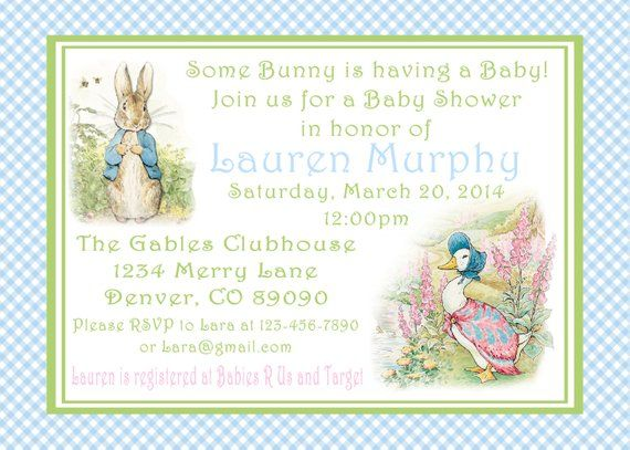 Peter Rabbit Baby Shower Invitations Printable Pdf Easter 1st Birthday Party Decorations Showe