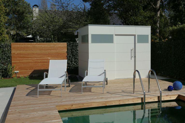 Individuelle Gartenhäuser aus heimischer Lärche und HPL Platten