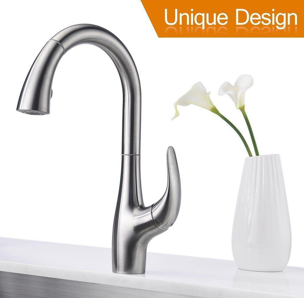Purelux Calla Modern Design Single Handle Pull Down High Arc Kitchen ...