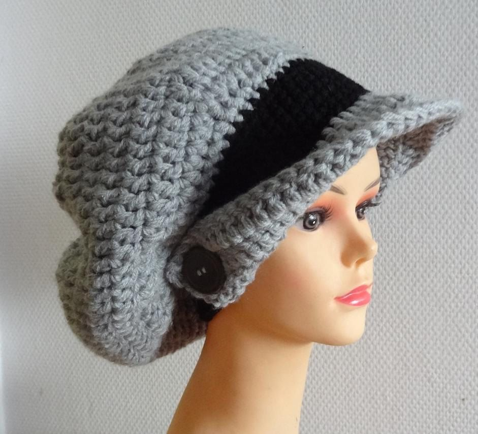 Crochet Winter Hat with Beard | Beanie with a visor Picture ...