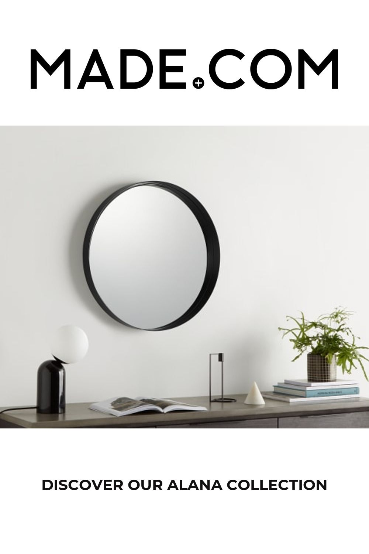 Alana Round 50cm Mirror, Matt Black