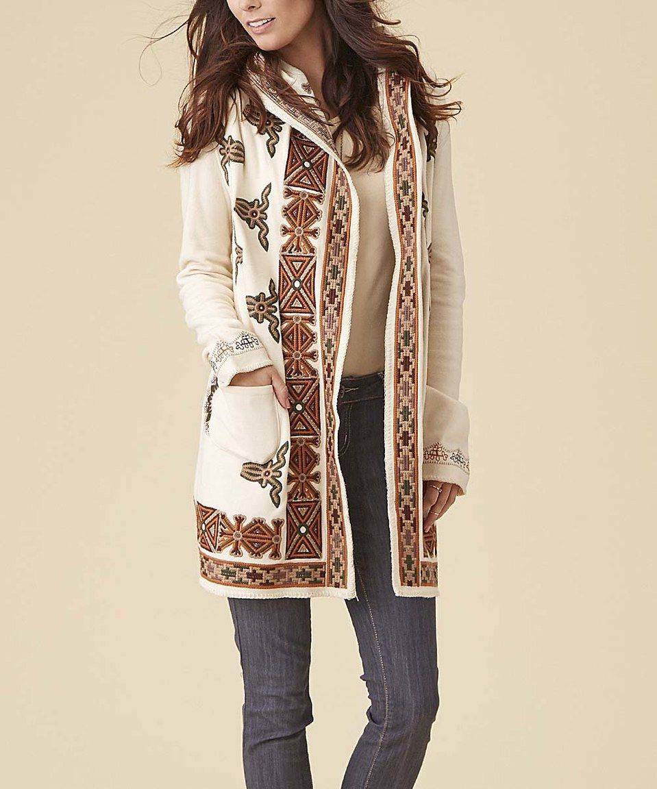 4d5c14cf81f Loving this Biz Enterprises Cream   Auburn Geometric Long Cardigan - Plus  Too on  zulily!  zulilyfinds