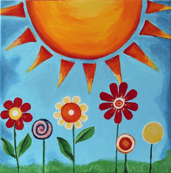 Sun And Flowers Painting ציורי ילדים Kids Canvas Art Art Drawings For Kids Kids Canvas Painting