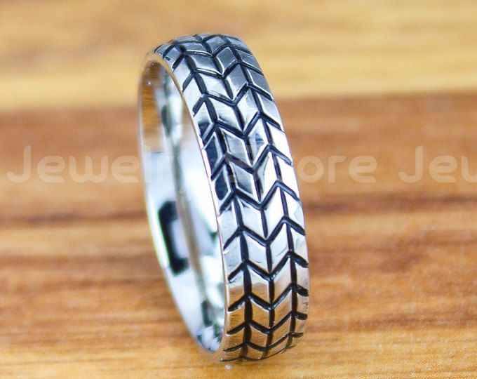 FREE SHIPPING Custom Engraved 6mm Silver Stainless Steel Band with Domed Edge Tire Tread Pattern Ring Silver Wedding Ring Tire Tread Ring