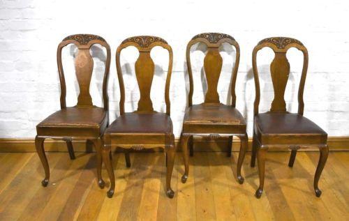 Fabulous Antique Vintage Set Of 4 Carved Oak Queen Anne High Back Dailytribune Chair Design For Home Dailytribuneorg