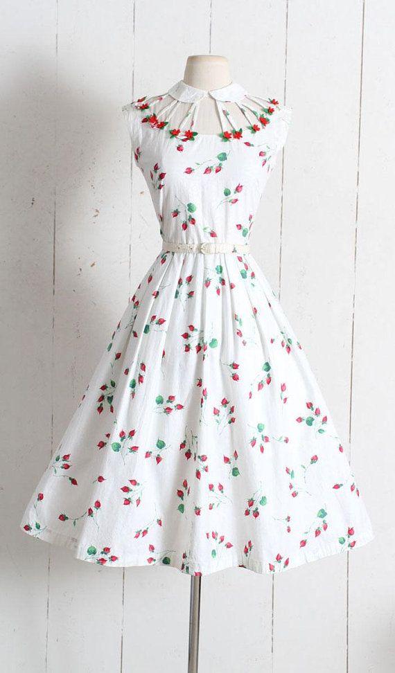 48dcbeb4bc36 Vintage 1950s Dress vintage 50s rosebud print dress by Vicky