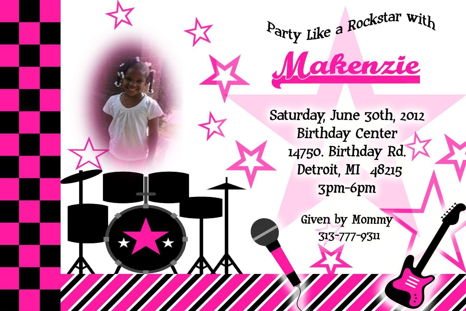 Rockstar Birthday | Birthday Party Invitations | Pinterest ...