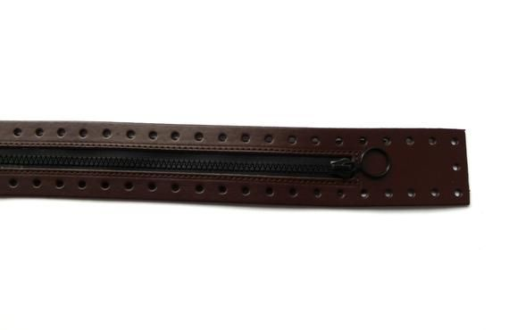 Zipper for bags 50 cm, brown