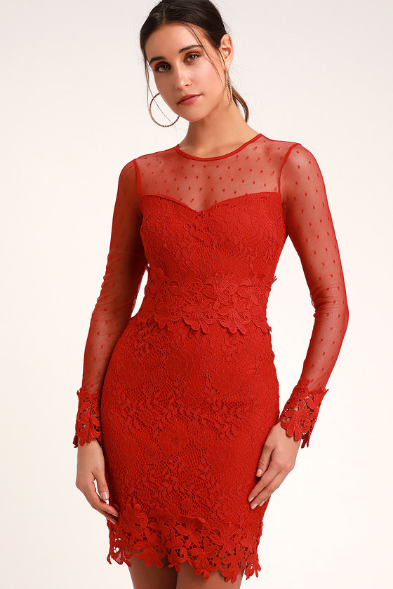 Lacey Lane Red Lace Long Sleeve Dress Mod And Retro Clothing Red Lace Long Sleeve Dress Long Sleeve Lace Dress Long Sleeve Dress