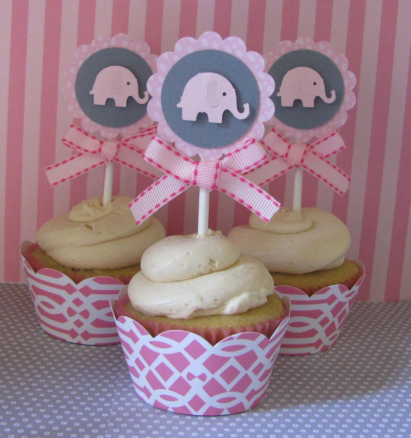 Gianna S Pink And Gray Elephant Nursery Reveal: Pink Elephant Cupcake Toppers By SheekShindigs On Etsy
