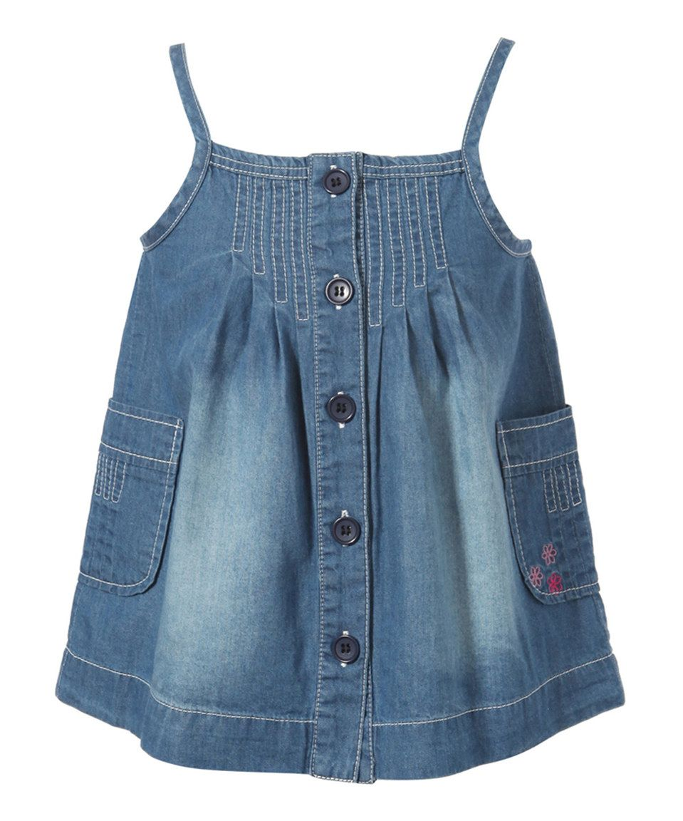 This Blue Embroidered Pocket Denim Dress - Infant, Toddler & Girls by Richie House is perfect! #zulilyfinds