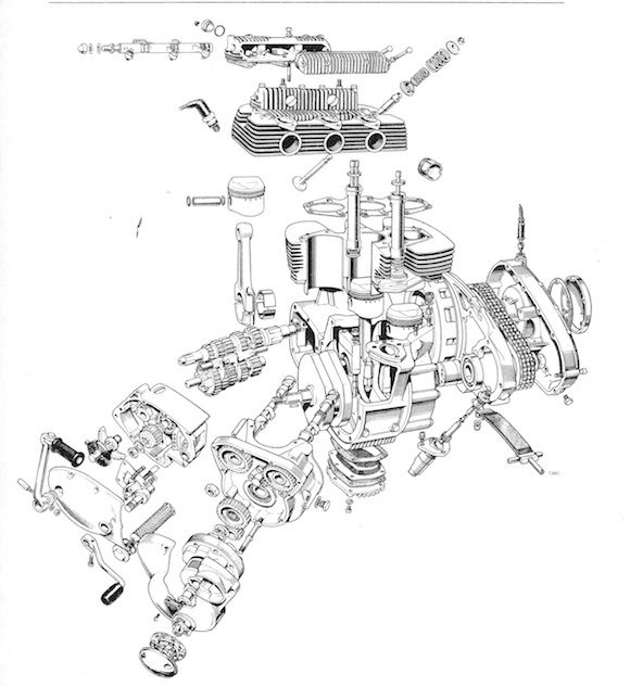 triumph bonneville engine exploded view | mechanism