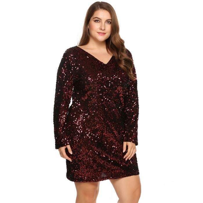 Plus Size Sexy Womens Deep V Neck Long Sleeve Sequined Club Sheath