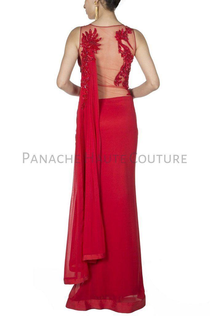 Red Colour Chiffon Designer Saree Gown Online | Designer Saree Gowns ...