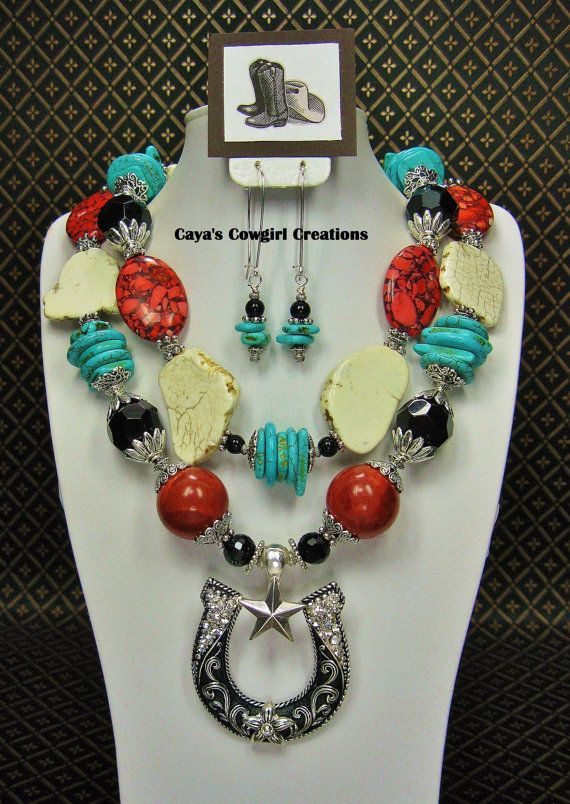 CHUNKY WESTERN COWGIRL Turquoise Necklace by CayaCowgirlCreations, $59.50