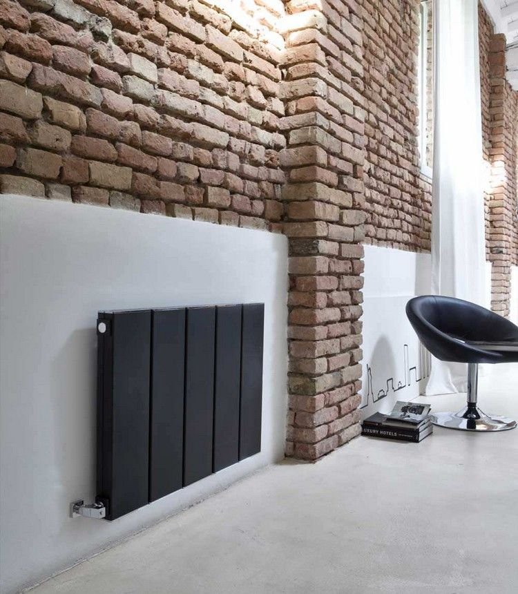 moderne-heizkoerper-heisswasser-wandmontiert-aluminium-schwarz - design heizkörper wohnzimmer