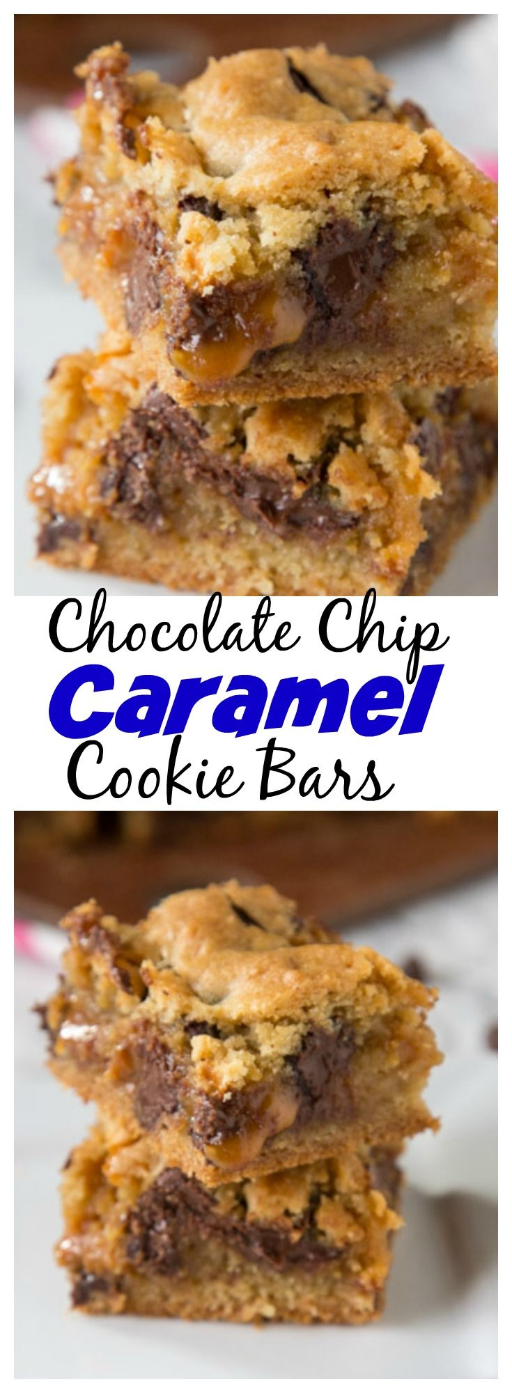 Chocolate Chip Caramel Cookie Bars   classic chocolate chip cookies baked in to bars with a gooey layer of caramel in the middle! is part of Caramel cookies -