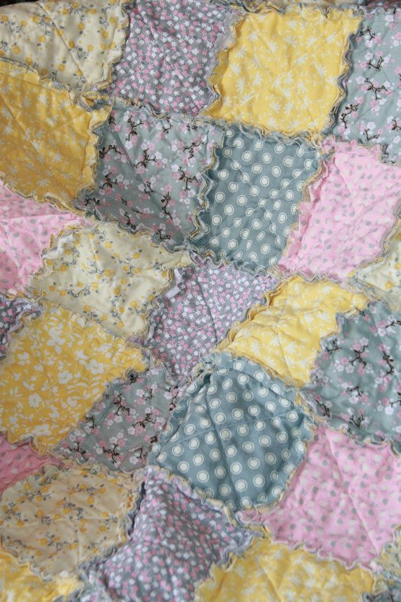 Rag Quilt Sale Baby Girl Pink Yellow Gray Nursery by justluved ...
