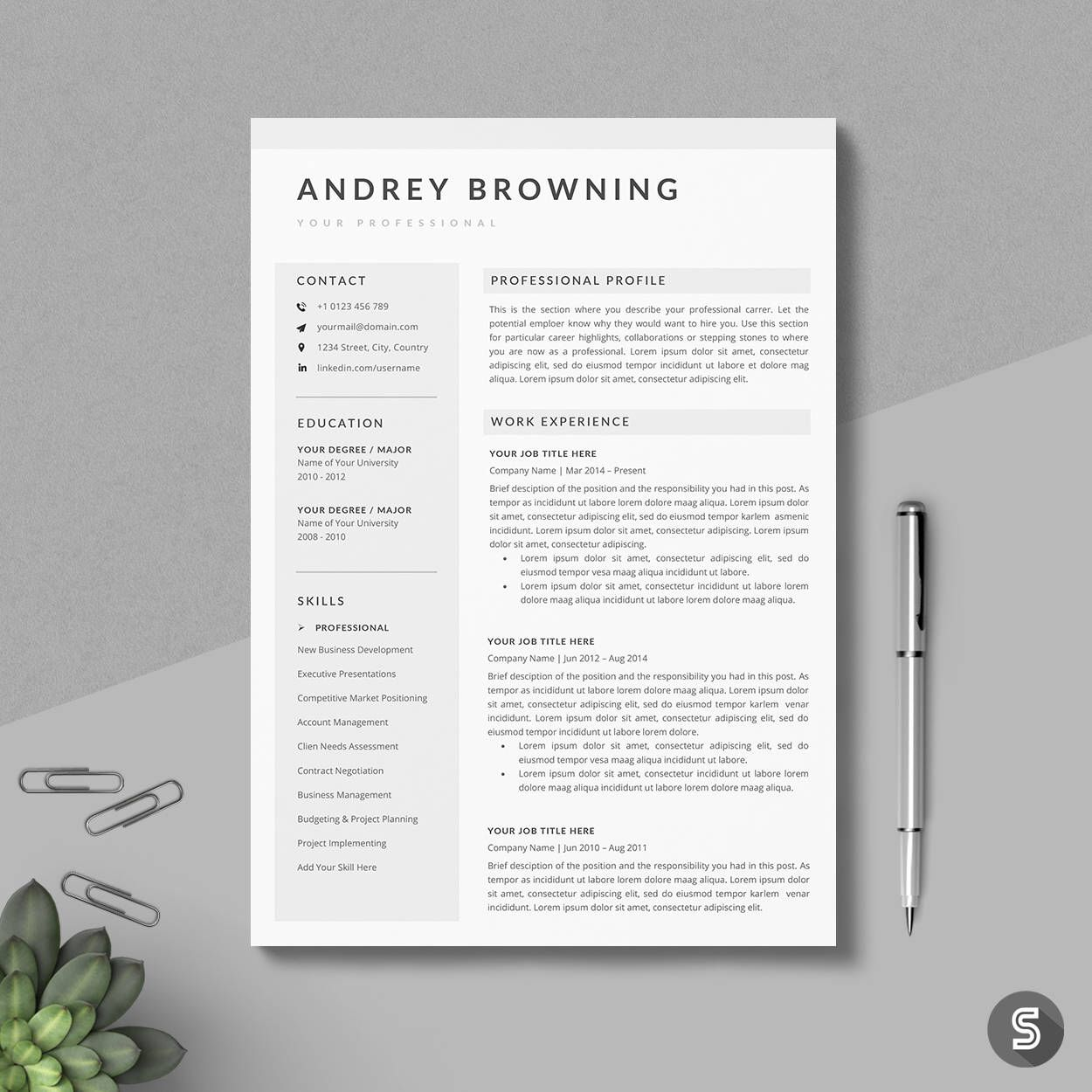 Resume Templates For Pages Modern Resume Template  Clean & Professional Resume Template  3