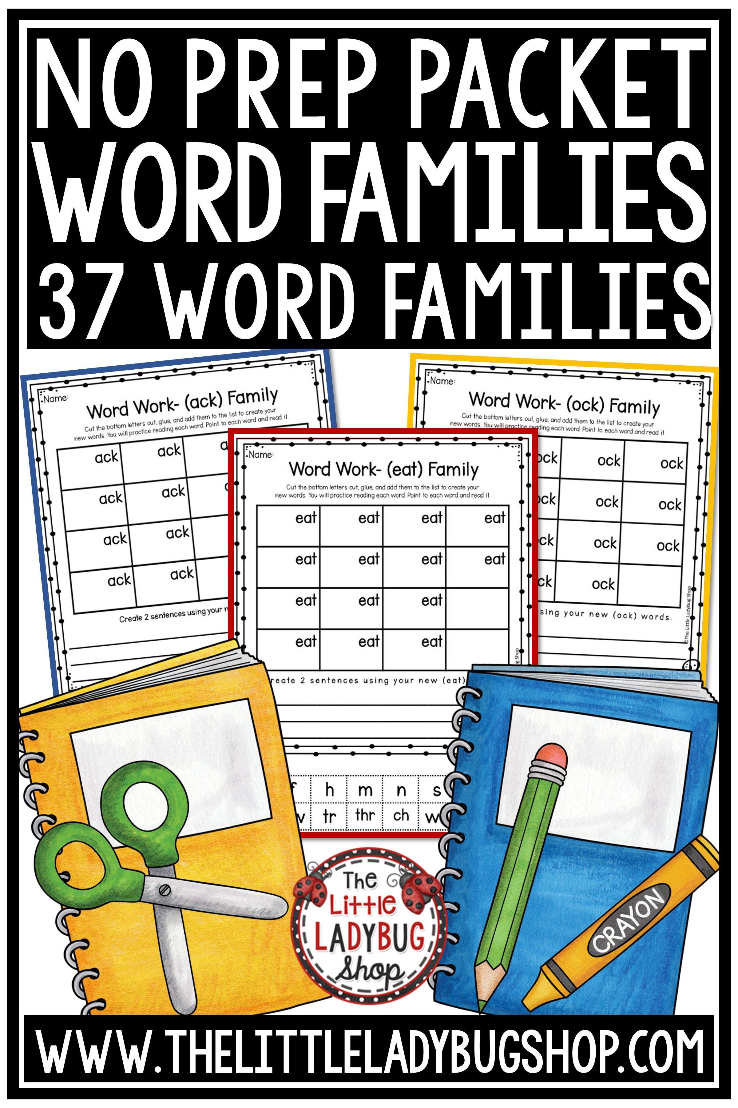 Word Families Activities 1st Grade 2nd Grade Amp Word