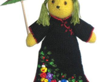 Sweet MADAME Butterfly teddy bear PDF Email Knit PATTERN