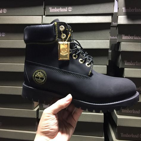 Timberland Authentic Mens 6 Inch Boots - Black and Gold with Gold Medal  0ec7340bf657